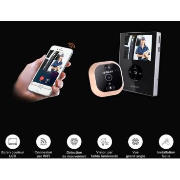 """Judas (caméra de porte) WiFi Eques R21, écran couleur 2,8"""" , interphone vidéo et enregistreur"""