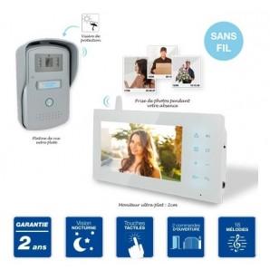 Portier interphone vidéo sans fil couleur 18 cm avec prise de photos