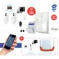 Alarme sans fil NFA2P, IP et GSM/GPRS Risco Agility 3 avec 3 PIRcam, sirène extérieure