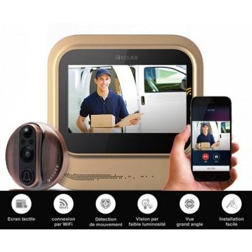 """Judas (caméra de porte) WiFi Eques R26, écran couleur 5"""" , interphone vidéo et enregistreur"""