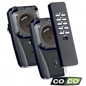 Kit extérieur, 2 prises ON/OFF 3500 W, COCO AGDR2-3500R, radio 433,92 MHz