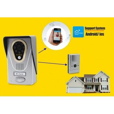 Sonnette de porte WiFi/IP, interphone vidéo vers smartphone