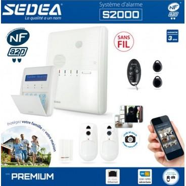Alarme NFA2P, GSM/GPRS et IP SEDEA S2000 sans fil pour maison ou appartement