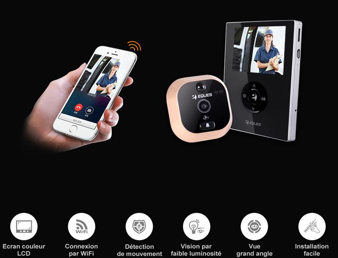 judas cam ra de porte wifi eques r21 avec cran couleur 2 8 interphone vid o et enregistreur. Black Bedroom Furniture Sets. Home Design Ideas